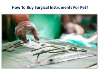 How To Buy Surgical Instruments For Pet?