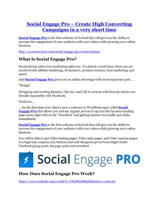 Social Engage Pro review and Social Engage Pro $11800 Bonus & Discount