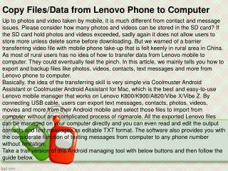 Copy Data from Lenovo Phone to Computer