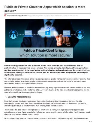 Public or Private Cloud for Apps: which solution is more secure?