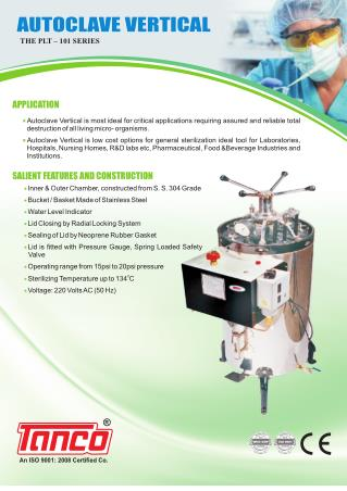 Vertical Autoclave Manufactured by Tanco, India