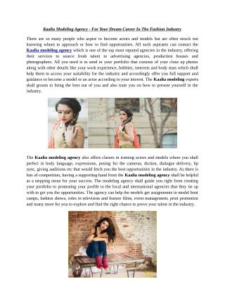 Kaalia Modeling Agency - For Your Dream Career In The Fashion Industry
