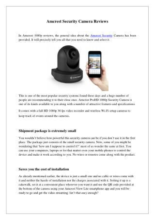 Amcrest Security Camera Reviews