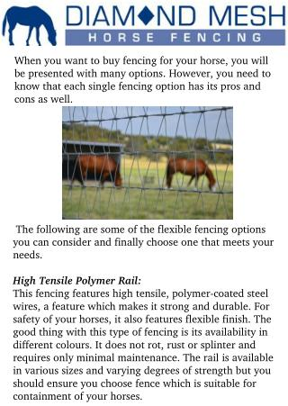 Flexible horse fencing Options You Need to Consider