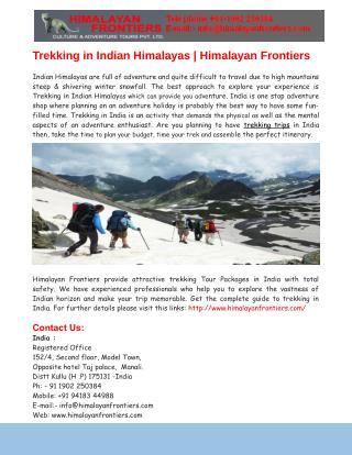 Trekking in Indian Himalayas