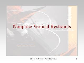Nonprice Vertical Restraints