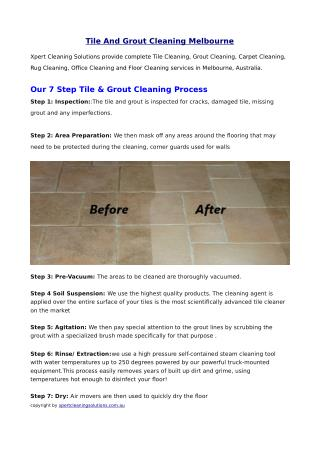Tile and Grout Cleaning Melbourne
