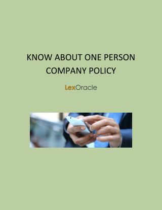 One Person Company Registration Firm in India | LexOracle