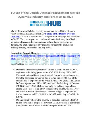 Future of the Danish Defense Procurement Market Dynamics Industry 2022