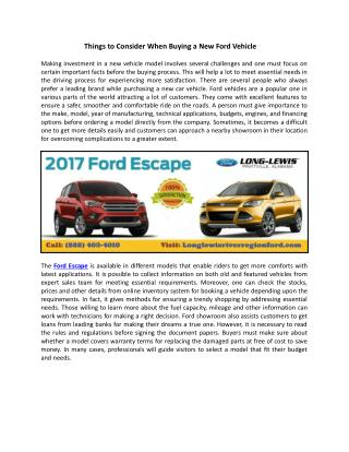 Things to Consider When Buying a New Ford Vehicle