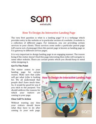 How To Design An Interactive Landing Page