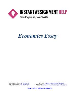 Instant Assignment Help - Sample Essay on Economics
