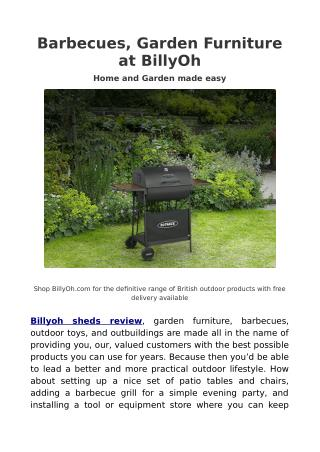 Billyoh Sheds Review - Garden furniture, Barbecues and Outdoor toys