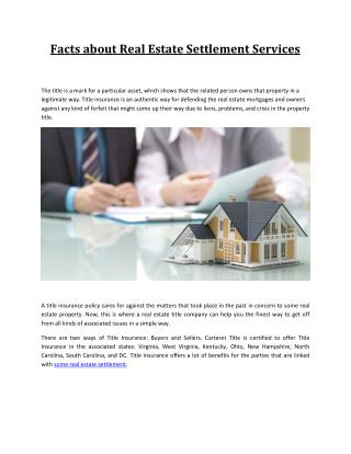 Facts about Real Estate Settlement Services