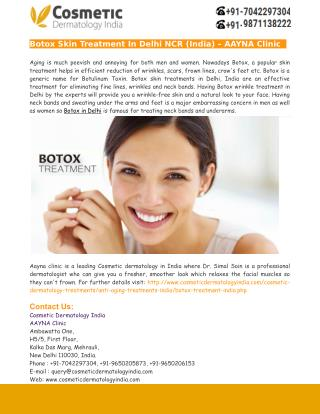 Botox Skin Treatment In Delhi India – AAYNA