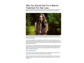 Why You Should Opt For a Natural Treatment