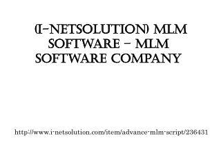 (i-Netsolution) MLM Software – MLM Software Company