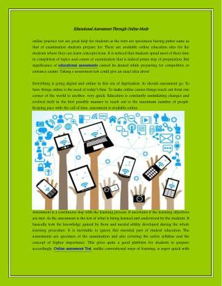 Educational AssessmentThrough Online Mode