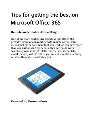 Tips for getting the best on Microsoft Office 365