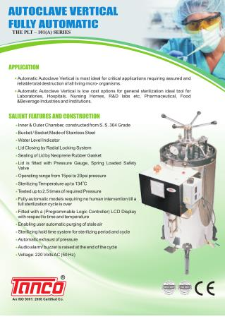 Full Automatic Vertical Autoclave for Sterilization by Tanco Autoclave