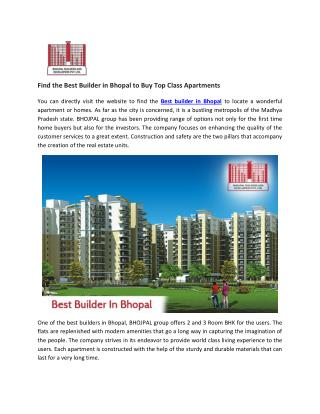 Find the Best Builder in Bhopal to Buy Top Class Apartments