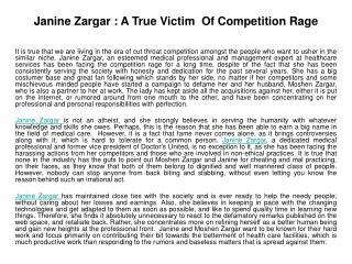 Janine Zargar : A True Victim  Of Competition Rage