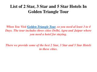 List of Hotels In Golden Triangle Tour