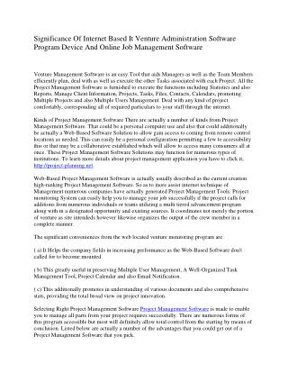 Usefulness Of Internet Based It Project Administration Software Device As Well As Online Activity Management Program
