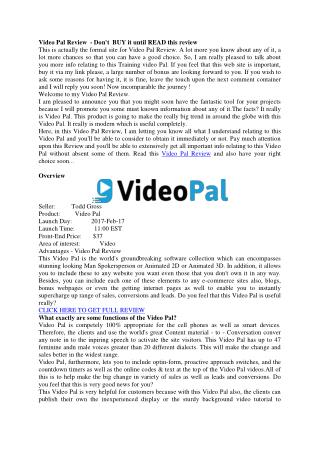 Video Pal Review – Great tool to boost up your sales