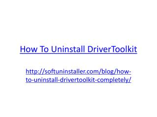 How to Uninstall DriverToolkit