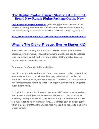 Digital Product Empire Starter Kit Review - MEGA $22,400 Bonus & 65% DISCOUNT