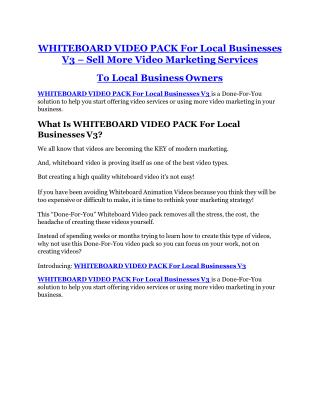 WHITEBOARD VIDEO PACK For Local Businesses V3 review and sneak peek demo