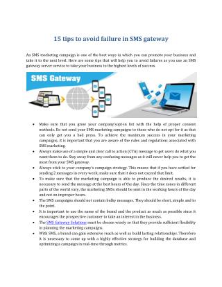 15 tips to avoid failure in SMS gateway