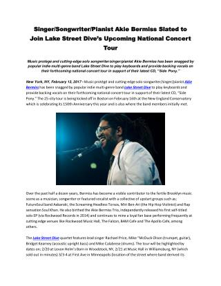 Singer/Songwriter/Pianist Akie Bermiss Slated to Join Lake Street Dive's Upcoming National Concert Tour