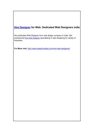 Hire Designer for Web: Dedicated Web Designers india