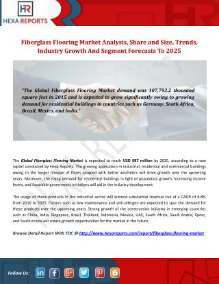Fiberglass Flooring Market Insights, Analysis And Overview To 2025: Hexa Reports