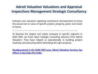 Adroit Valuation Valuations and Appraisal Strategic Consultancy