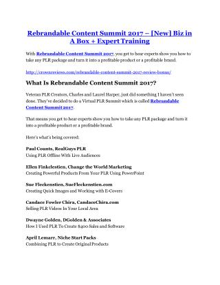 Rebrandable Content Summit 2017 reviews and bonuses Rebrandable Content Summit 2017