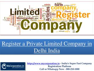 Register a Private Limited Company in Delhi India