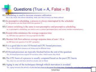 Questions True  A, False  B