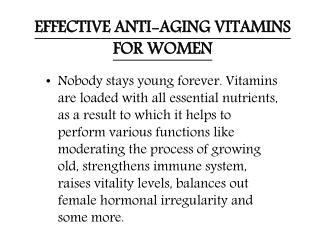 EFFECTIVE ANTI-AGING VITAMINS FOR WOMEN