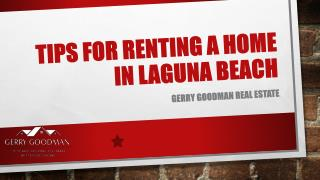 Tips for Renting a Homein Laguna Beach