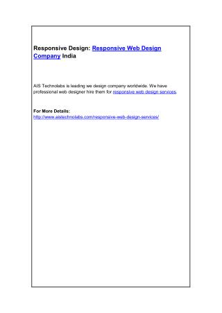 Responsive Design: Responsive Web Design Company India