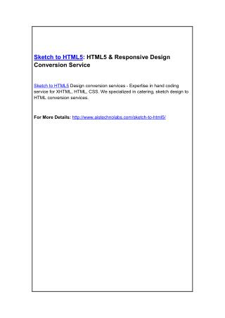 Sketch to HTML5: HTML5 & Responsive Design Conversion Service