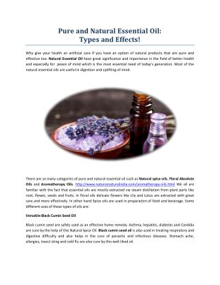 Pure and Natural Essential Oil: Types and Effects!