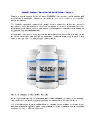 Adderin Review – Benefits and Side Effects of Adderin