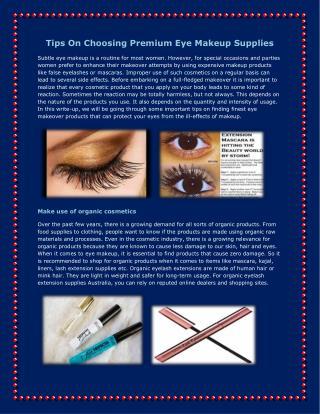 Tips On Choosing Premium Eye Makeup Supplies