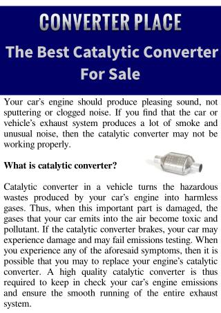 The Best Catalytic Converter For Sale