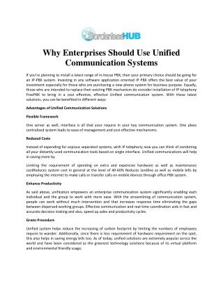 Communication Systems for Enterprise