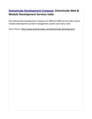 Dotnetnuke Development Company: Dotnetnuke Web & Module Development Services India
